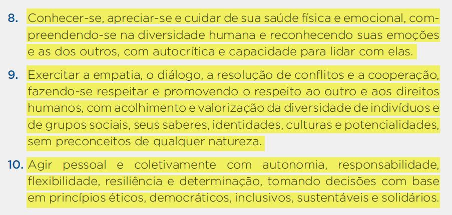 Competências Socioemocionais na BNCC - 8, 9, 10